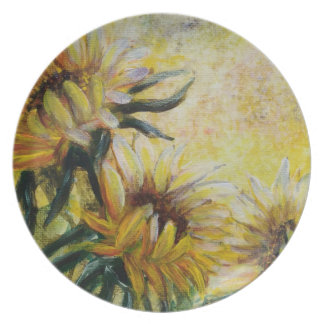 Morning sunflowers painting party plates