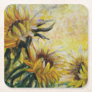 Morning sunflowers painting square paper coaster