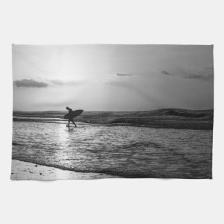 Morning Surfer Grayscale Kitchen Towels