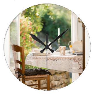 Morning Tea Time in the Sun Photo Clock