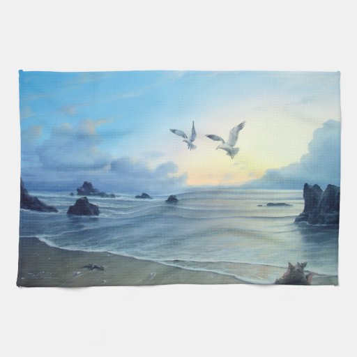 Morning Tides Beach Theme Kitchen Towels Zazzle