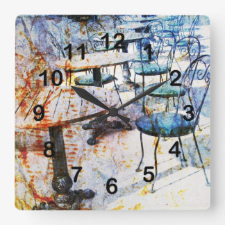 Morning vintage French cafe art Square Wall Clock