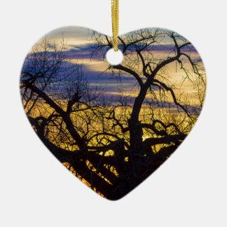 Morning Woods Ceramic Heart Ornament