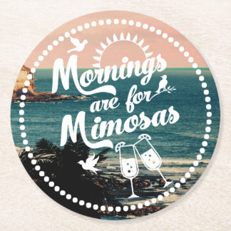 Mornings are for Mimosas Beachy Brunch Party Round Paper Coaster