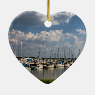 Morningstar Marina Sailboats Georgia USA Ceramic Heart Ornament