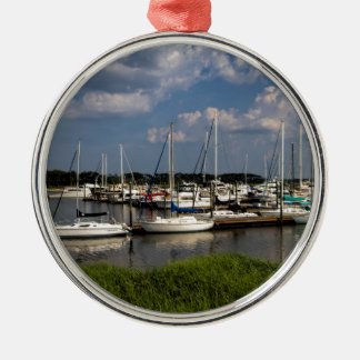 Morningstar Marina Sailboats Georgia USA Silver-Colored Round Ornament