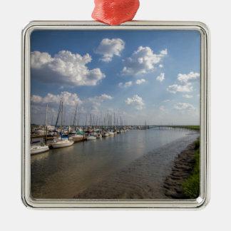 Morningstar Marina Sailboats Georgia USA Silver-Colored Square Ornament