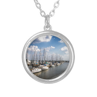 Morningstar Marina Sailboats Georgia USA Silver Plated Necklace