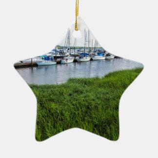 Morningstar Sailboat Marina Georgia USA Grasslands Ceramic Star Ornament