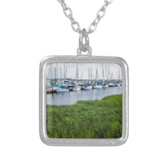 Morningstar Sailboat Marina Georgia USA Grasslands Silver Plated Necklace