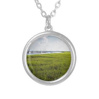 Morningstar Sailboat Marina Georgia USA Silver Plated Necklace
