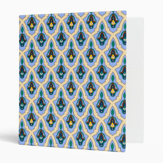 Moroccan arabic tracery pattern in blue and yellow 3 ring binders