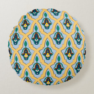 Moroccan arabic tracery pattern in blue and yellow round pillow