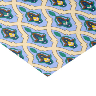 Moroccan arabic tracery pattern in blue and yellow tissue paper
