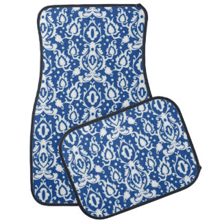 Moroccan Blue and White Casbah Damask Car Mat