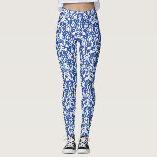 Moroccan Blue and White Modern Casbah Damask Leggings