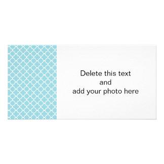 Moroccan Blue White Quatrefoil Pattern Customized Photo Card