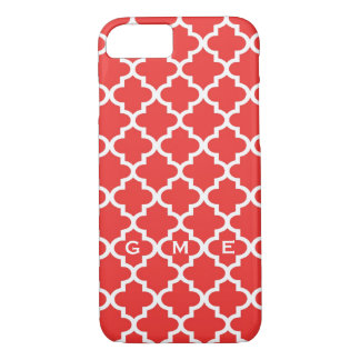 Moroccan brick red tile design 3 monogram iPhone 7 case