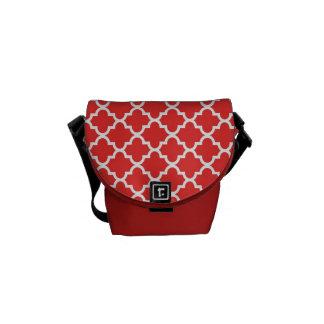 Moroccan brick red tile pattern trendy messenger bag