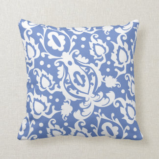 Moroccan Casbah Damask Blue and White Throw Pillow