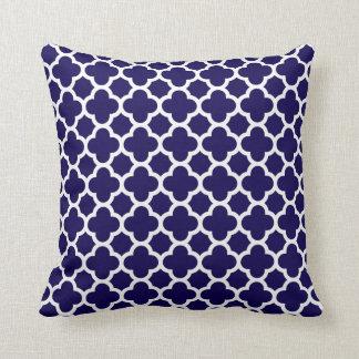 Moroccan Clover Quatrefoil in Cobalt Blue White Throw Pillow
