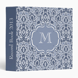 Moroccan Damask Blue and White Monogrammed Binders