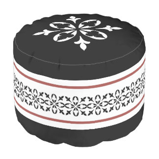 Moroccan damask tan black and white pouf