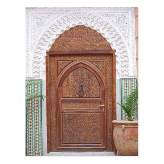 Moroccan door postcard