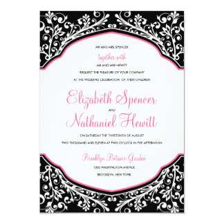 Moroccan Dream Wedding Invitation Black/Pink