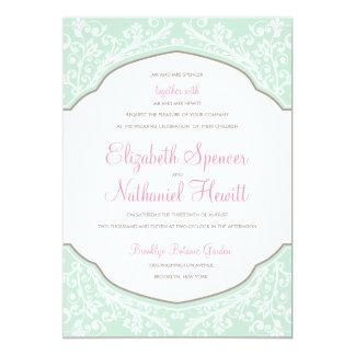 Moroccan Dream Wedding Invitation Mint/Pink