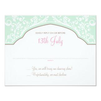 "Moroccan Dream Wedding RSVP Mint/Pink 4.25"" X 5.5"" Invitation Card"
