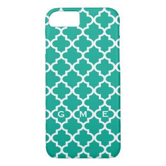 Moroccan emerald green tile design 3 monogram iPhone 8/7 case
