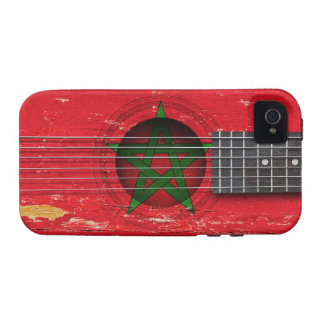 Moroccan Flag on Old Acoustic Guitar Vibe iPhone 4 Covers