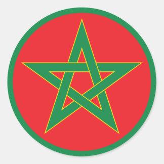 Moroccan Flag Round Sticker. Classic Round Sticker