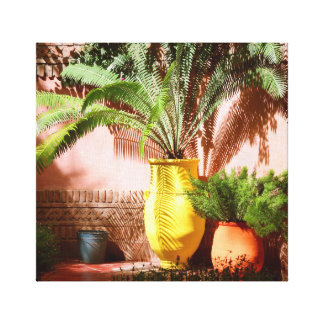 Moroccan garden - fern in yellow pot canvas print