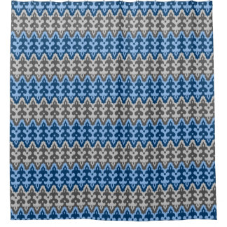 Moroccan Ikat Damask, Blue and Gray / Grey