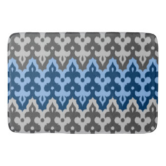 Moroccan Ikat Damask, Blue and Gray / Grey Bath Mat