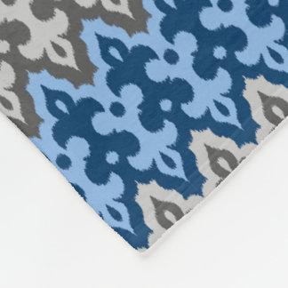 Moroccan Ikat Damask, Blue and Gray / Grey Fleece Blanket