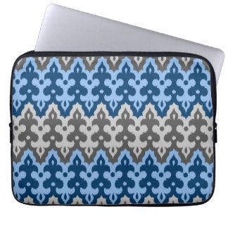 Moroccan Ikat Damask, Blue and Gray / Grey Laptop Sleeve