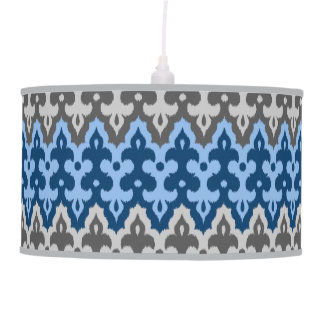 Moroccan Ikat Damask, Blue and Gray / Grey Pendant Lamp