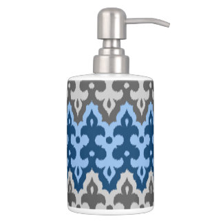 Moroccan Ikat Damask, Blue and Gray / Grey Soap Dispenser And Toothbrush Holder