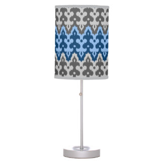 Moroccan Ikat Damask, Blue and Gray / Grey Table Lamp