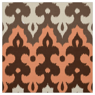 Moroccan Ikat Damask, Brown, Taupe & Coral Fabric