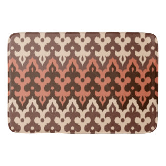 Moroccan Ikat Damask, Brown, Taupe & Rust Bath Mat