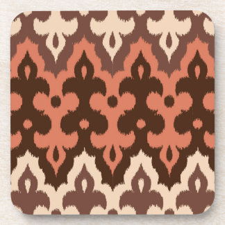 Moroccan Ikat Damask, Brown, Taupe & Rust Coaster