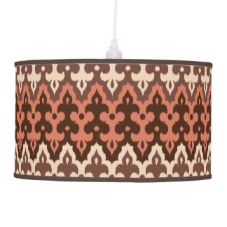 Moroccan Ikat Damask, Brown, Taupe & Rust Pendant Lamp