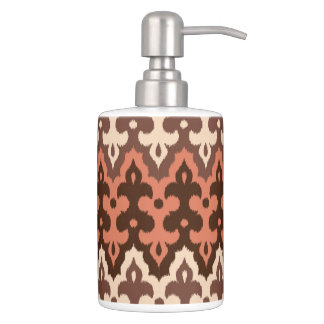 Moroccan Ikat Damask, Brown, Taupe & Rust Soap Dispenser And Toothbrush Holder