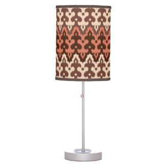 Moroccan Ikat Damask, Brown, Taupe & Rust Table Lamp