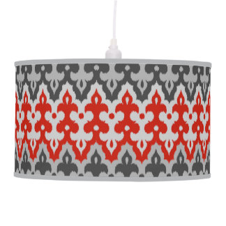 Moroccan Ikat Damask, Graphite Gray and Red Pendant Lamp