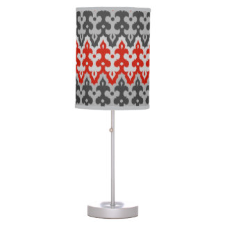 Moroccan Ikat Damask, Graphite Gray and Red Table Lamp
